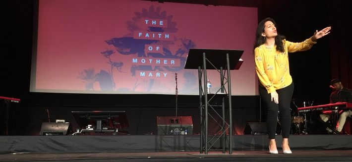 Ines preaching at Fellowship Monrovia on Mother's Day 2018