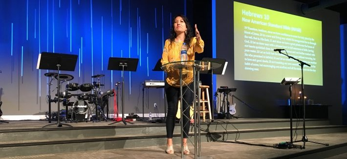 Ines Velasquez-McBryde preaching at Mosaic Church on July 2018