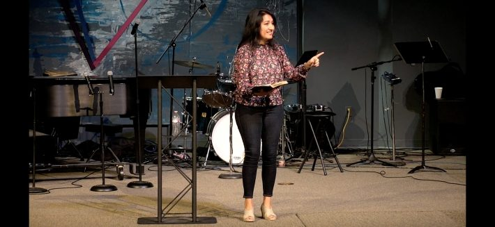 Ines preaching at Fellowship North on June 18, 2018