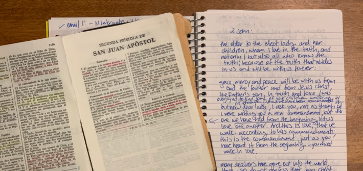 2 John - Abuela's Bible and my sermon notes